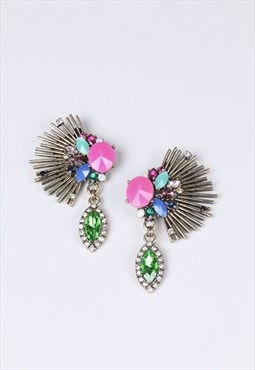 Oversized earnings with crystal multicoloured stones