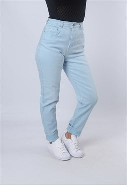 High Waisted Stretch Denim Jeans Tapered Leg UK 12 (KJAM)