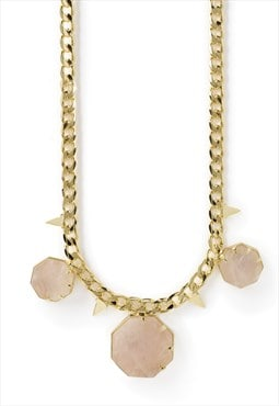 'hold on' rose quartz gold chunky chain statement necklace