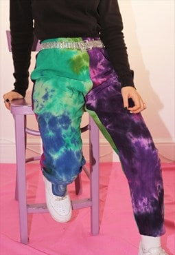High Waist Tie Dye Corduroy Trousers in Contrast Panels