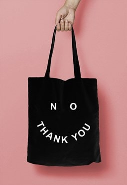 NO THANK YOU Smiley Face Slogan Print Tote Bag Shopper Black
