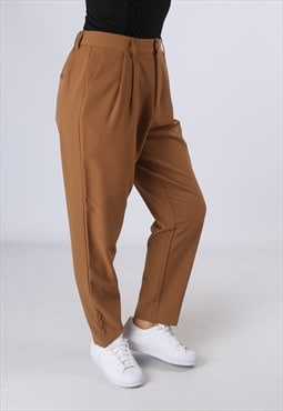 High Waisted Trousers Plain Tapered Leg UK 14 (AK5C)