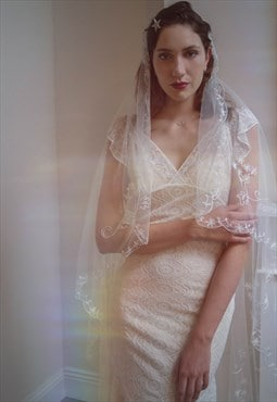Lovely vintage style wedding veil, with tambour embroroidery