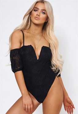 Black Lace Bardot Bodysuit