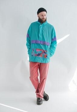 Vintage Boxy Fit Pullover Light Windbreaker Rain Jacket XL