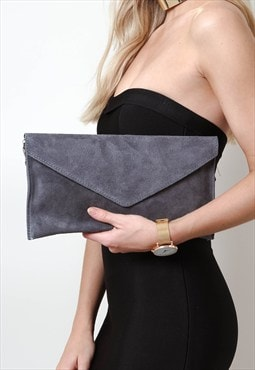 Dark Grey Suede Envelope Clutch Bag