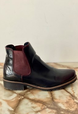 two tone leather boots