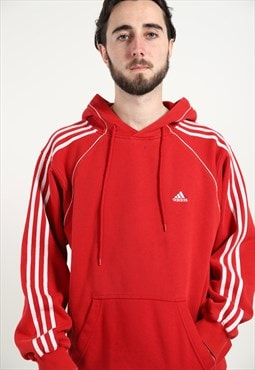 Vintage ADIDAS Small Logo Hoodie Red