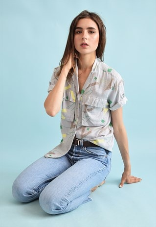 90'S RETRO ABSTRACT PRINT OVERSIZED FESTIVAL BLOUSE TOP