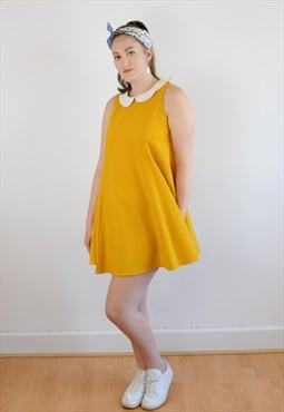 Womens Vintage 60s dress mustard yellow babydoll style