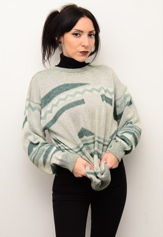 VINTAGE 90'S GRUNGE RETRO INDIE PATTERNED OVERSIZED JUMPER