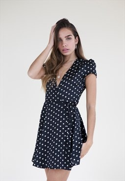 Hana Wrap Dress - Black Spot