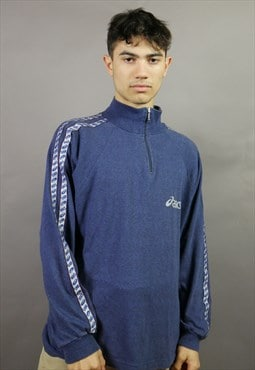 Vintage Asics 1/4 Zip Sweatshirt in Blue with Logo & Taping