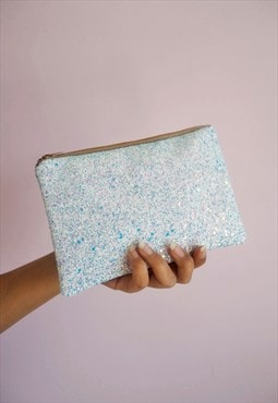 Pale Blue Glitter Makeup Bag