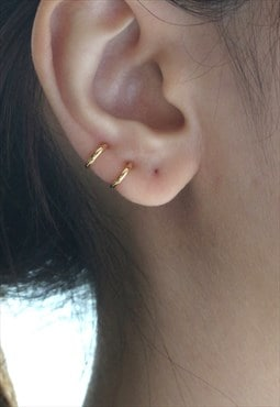 Tiny Gold Hoop Earrings, Cartilage 8mm - Sterling Silver