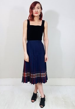 Vintage 80's Navy Blue and Red Tartan Pleated Midi Skirt