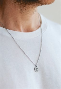 Om chain necklace for men silver yoga pendant gift for him