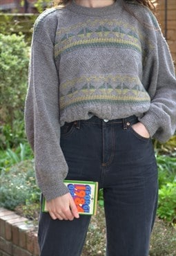 90s Vintage Grey and Green Patterned Knit Jumper