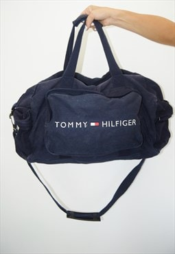 Vintage Navy Blue Tommy Hilfiger Duffle Bag Big Logo