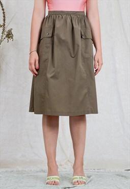 Military skirt W32 vintage high waist 80s pleated khaki
