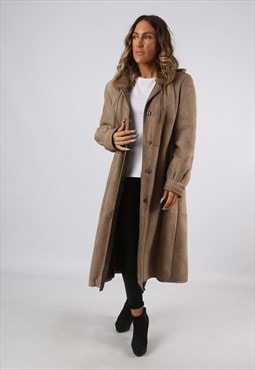Sheepskin Suede Leather Shearling Long Coat UK 14 (A9BL)
