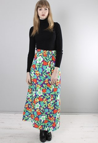 VINTAGE 70S NEON FLORAL PATTERNED LONG SLIT SKIRT