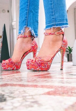 Sierra Batik Orange High Heels