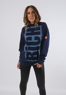 BICH Logo Print Sweatshirt Sweat Top Long UK S 10   (93D)