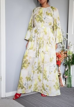 Watercolour printed maxi smock dress