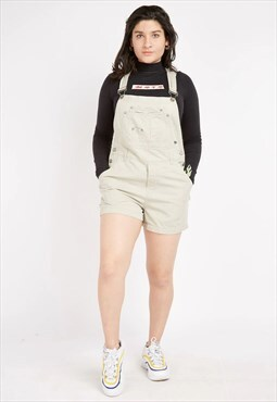 Vintage Beige No Boundaries Short Dungarees
