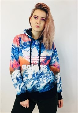 Vintage Adidas All Over Print Colourful Pullover Hoodie