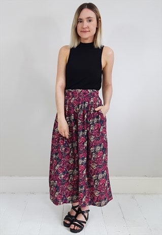 VINTAGE 90'S DEEP PINK AND BURGUNDY FLORAL MIDI SKIRT