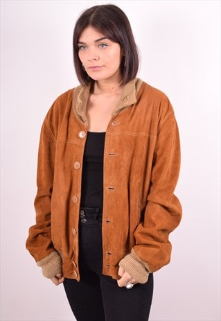 WOMENS VINTAGE SUEDE BOMBER JACKET XL BROWN 90S