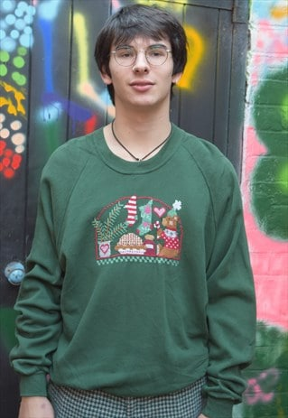 Green Hand Stitched Vintage Christmas Jumper Sweater