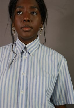 Vintage YSL Striped Shirt in Blue & White with Logo