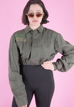 Vintage Reworked Crop Army Shirt in Green w Velcro Patches