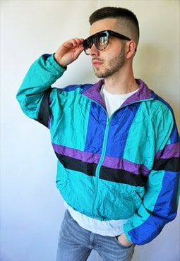 Vintage Windbreaker Parachute Tracksuit Sports Jacket Run