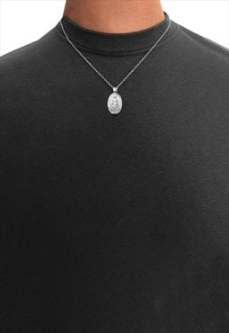 "20"" God Jesus Mary Oval Pendant Necklace Chain - Silver"