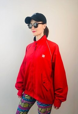 Vintage late 90s Spain SEAT car Employee red windbreaker