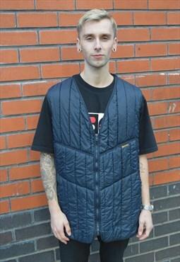 Vintage Barbour quilted navy gilet vest jacket top