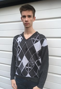 Mens Vintage 80s jumper grey patterned v neck sweater top