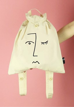 Face Line Drawing Print Canvas Backpack - Black on Natural