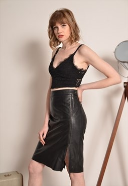 Vintage Leather Pencil Midi Skirt Adjustable Slit in Black