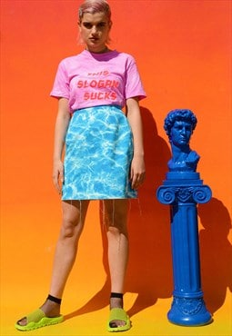 Tye Dye Bleached Denim Skirt