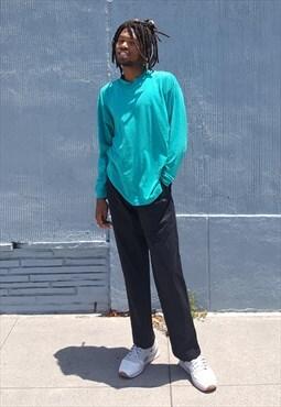 90s Minimalist Sportswear Turquoise Mock Turtle Neck