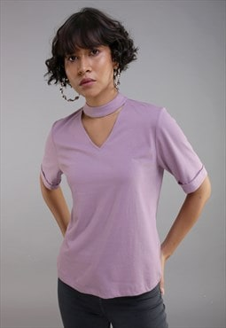 Solid choker t-shirt in purple