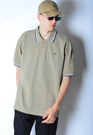 VINTAGE 90S KHAKI FRED PERRY POLO SHIRT