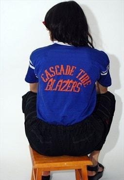 70s Sports Jersey (L) vintage blue t-shirt ringer distressed