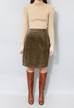Vintage 1970's Olive Green Suede High Waisted Mini Skirt