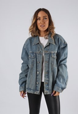 Vintage Denim Jacket Oversized Fitted UK 16 XL  (9EAS)
